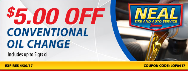 $5.00 off conventional oil change