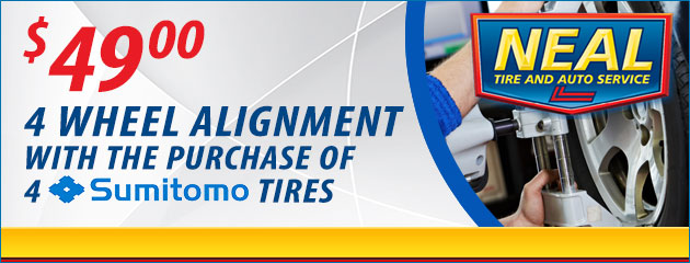 $49 4 Wheel Alignment with the purchase of 4 Sumitomo tires