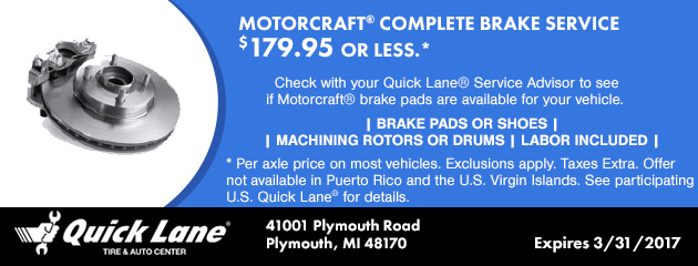 MOTORCRAFT® COMPLETE BRAKE SERVICE, $179.95 or less