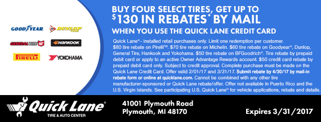 BUY FOUR SELECT TIRES, GET UP TO $130 IN MAIL-IN REBATE