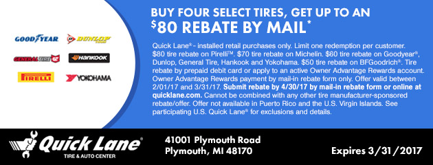 BUY FOUR SELECT TIRES, GET UP TO $80 IN MAIL-IN REBATE
