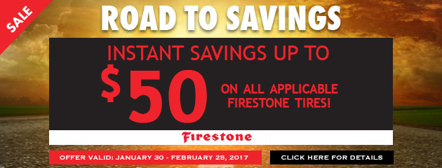 Instant Savings up to $50 on all applicable Firestone tires!