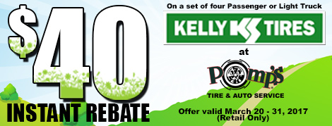 $40 Instant Rebate on Kelly Tires