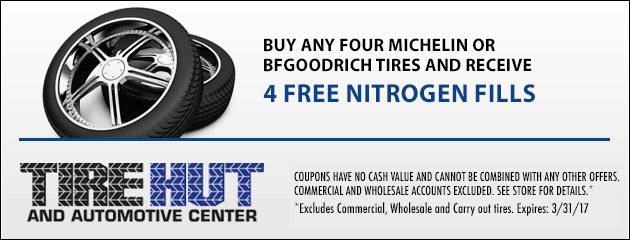 Buy any Four Michelin or BfGoodrich Tires and receive 4 Free Nitrogen Fills