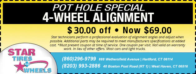 Pot Hole Special - $30 Off a 4 Wheel Alignment
