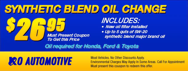 $26.95 Synthetic Blend Oil Change