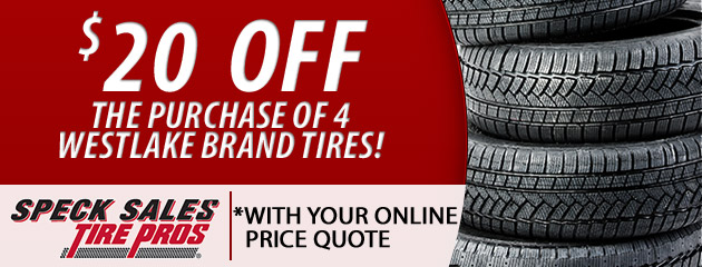 $20 OFF the purchase of 4 Westlake Brand Tires!