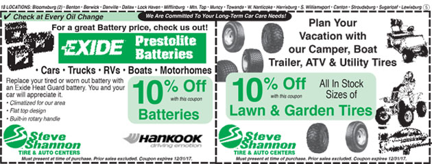 Exide Batteries and Lawn Garden Tires