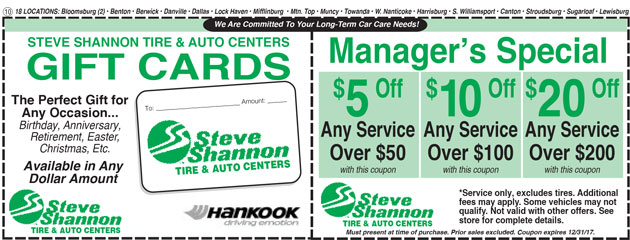 gift cards and manager's special