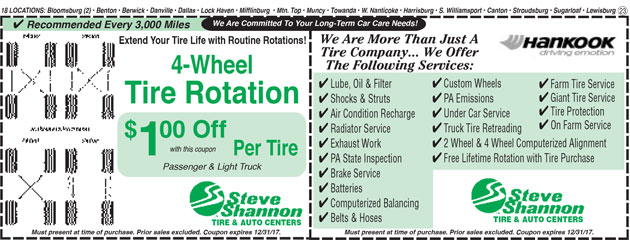 4 wheel tire rotation and services