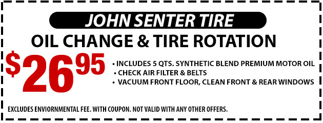 Oil change and tire rotation- $26.95