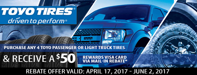 Toyo Tires $50 Rebate With Purchase of Any 4 Toyo Tires