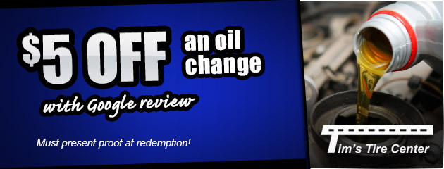 $5 Off Oil Change with google review