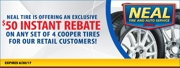 $50 Instant Rebate on any set of Cooper Tires