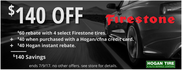 Up to $140 Off on select Firestone tires