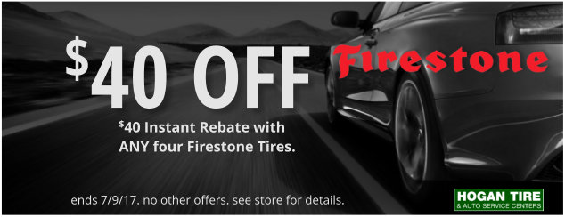 $40 Off select Firestone tires