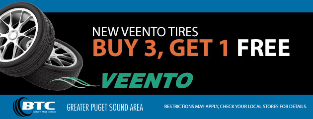 New Veento Tires, Buy 3 Get 1 FREE
