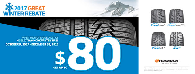 Hankook - Up to $80 Winter Tire Rebate