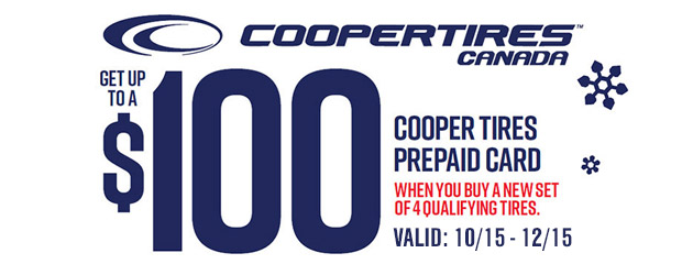 Cooper Canada Get up to $100 Rebate on Select Tires