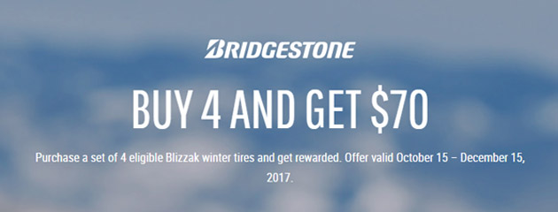 Bridgestone Canada $70 Rebate on Select Tires