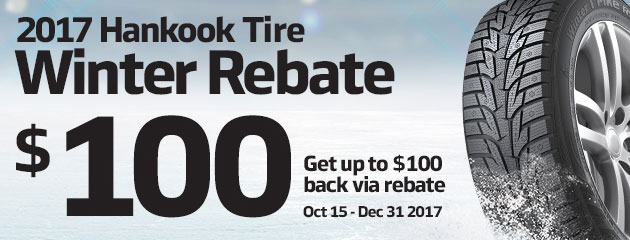 Hankook Canada Up to $100 Rebate on Select Tires