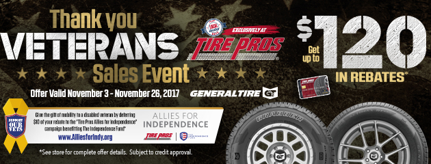 Tire Pros - Dealer Days up to $120 in Rebates