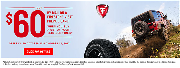 Firestone $60 Rebate on Select Tires