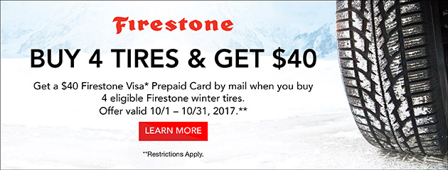 Firestone Canada $40 Rebate on Select Tires
