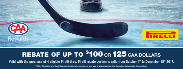 Pirelli Canada Up to $100 or 125 CAA Dollar Rebate