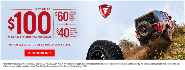 Firestone CFNA Up to $100 Rebate on Select Tires