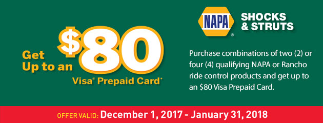 NAPA - Up to an $80 Visa Prepaid Card