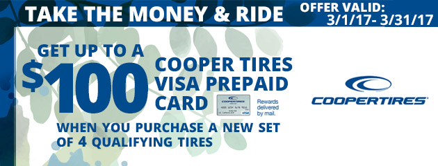 Cooper Tires Get Up to $100 Prepaid Visa Card During Take The Money and Ride Event