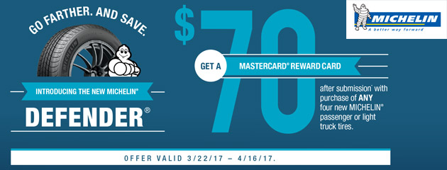 Michelin Go Farther And Save $70 Reward Card With Purchase of Four New Tires