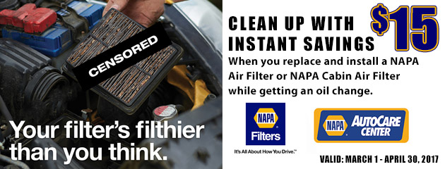 NAPA Sales Driver $15 Off Air Filter While Getting An Oil Change