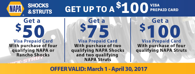 NAPA Get Up to a $100 Visa Prepaid Card With Purchase of Qualifying Shocks and Struts