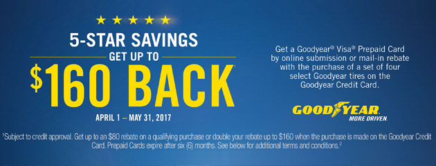 Goodyear Double Your Rebate Up to $160 On Select Tires With Goodyear Credit Card