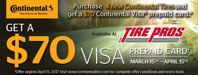 Continental Tire Pros $70 Visa Rebate