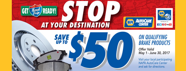 NAPA Sales Driver Save up to $50 on Qualifying Brake Products