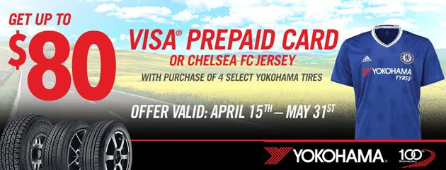 Yokohama Up to $80 Spring Getaway Rebate