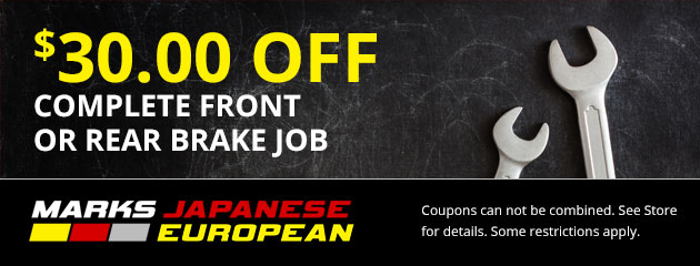 $30 Off Complete Front or Rear Brake Job