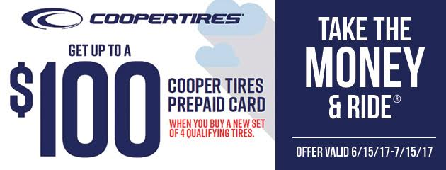 Cooper Tires Get Up to $100 Prepaid Visa Card With 4 Select Tires