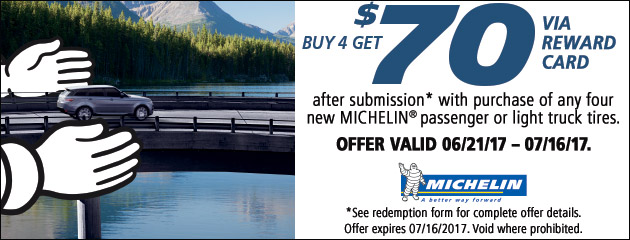 Michelin - 70 Reward Card With Purchase of 4 Tires