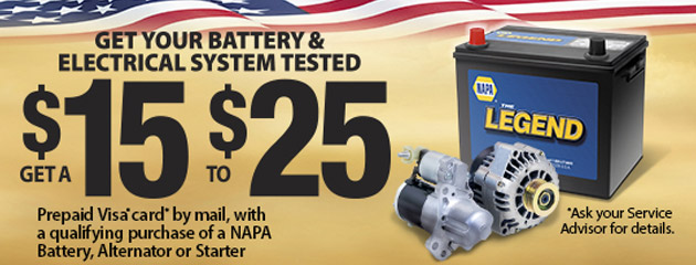 NAPA Up to $25 Rebate With Qualifying Purchase