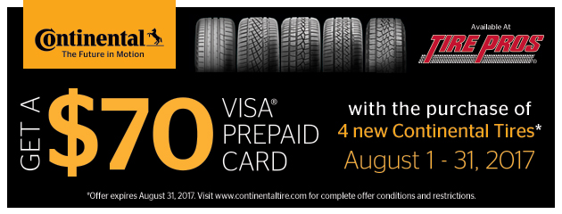 Tire Pros - Continental $70 Rebate With 4 New Tires