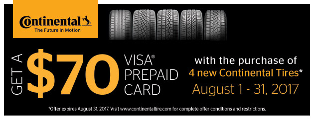 Continental $70 Rebate With Purchase of 4 New Tires