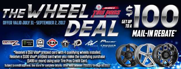 Tire Pros - Up to $100 Rebate With Purchase and Install of 4 Qualifying Wheels