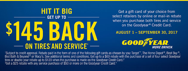 Goodyear TSN Up to $145 Back On Tires And Service