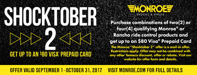 Monroe - Up to $80 Rebate on Qualifying Shocks