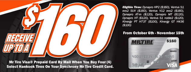 Mr.Tire - Hankook up to $160 Prepaid Card