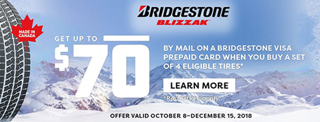 Bridgestone Canada - Up to $70 Visa Prepaid Card